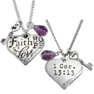 510-327-2881 Halskjede - Faith Hope Love (Hjerte)