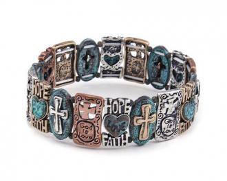 Stretch Armbånd - Faith Hope Love - Multicolor Turquoise