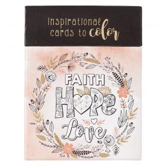CBX 010 Boxed Coloring Cards - Faith Hope Love