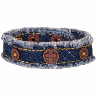 CHCB 113 Cherished Canvas Bracelet - Denim Cross