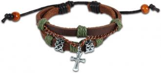 FGBJ 148 Armbånd - Leather and Chain Cross