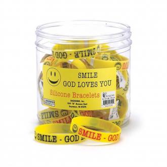 N-1013B Silikon Armbånd - Smile God Loves You
