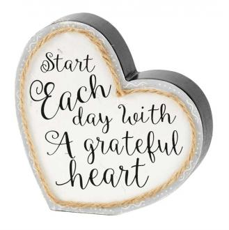 PLKTTW-5 Dekorhjerte - Start Each Day With A Greatful Heart (12,5 x 10 cm)