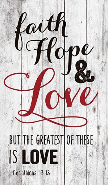 PNL 0064 Veggdekor - Faith Hope & Love (35 x 60 cm)