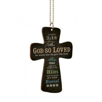 CAR 0003 - Car Charm Cross - For God So Loved The World
