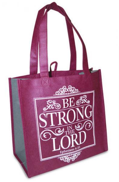 23799 Shopping Bag - Be Strong in The Lord (Burgunder)