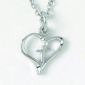 510-330-502X Halskjede Rhodium Plated - Heart with Cross