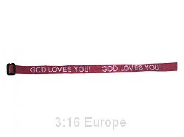 76732 Armbånd burgunder - God Loves You!