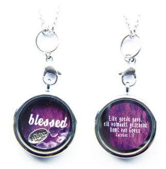 80104273 Halskjede - Blessed charm with purple and pink heart