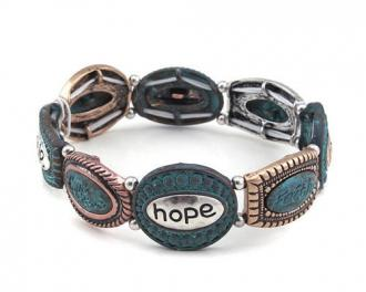Stretch Armbånd - Faith Hope Love Believe - Multicolor Turquoise