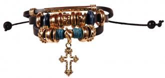 BHBJ 103 Armbånd - Black Gold Cross