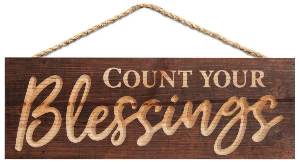 HHSC 0005 Carved Hanging Sign - Count Your Blessings (40 x 14 cm)