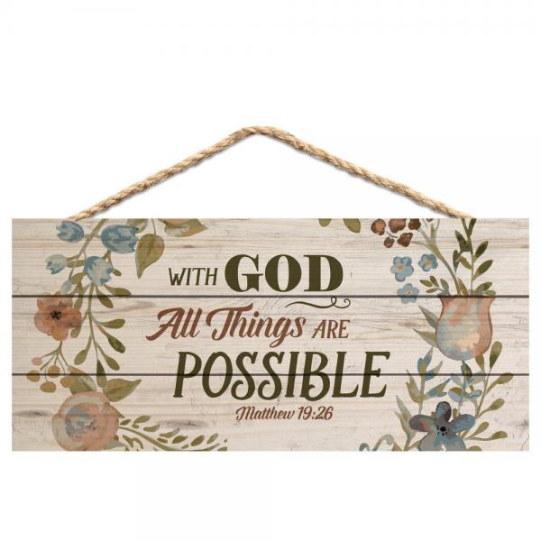 HSA 0129 Veggdekor - With God All Things Are Possible (25 x 11 cm)