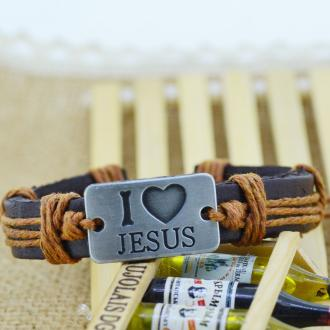 Armbånd - I Love Jesus - Light Brown Punk Fashion Genuine Leather Rope