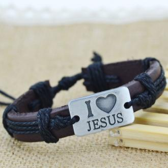 Armbånd - I Love Jesus - Black Punk Fashion Genuine Leather Rope