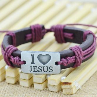Armbånd - I Love Jesus - Maroon Punk Fashion Genuine Leather Rope