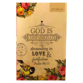 JL 158 Notisbok myk perm - Vintage Roses - God is Compassionate and Gracious