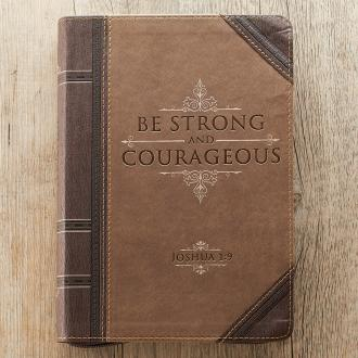 JL 208 Notisbok - Be Strong & Courageous Zippered Classic LuxLeather