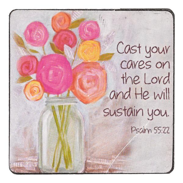 MGW 020 Magnet - Cast Your Cares On The Lord And He Will Sustain You - Christian Art Gifts