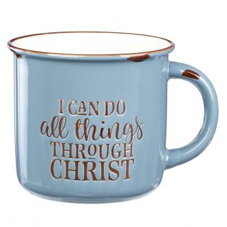 MUG 567 Kopp - I Can Do All Things Through Christ - Blue Camp Style (390 ml)