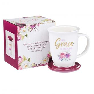 MUG 601 Kopp med lokk/asjett - His Grace Is Enough (385 ml)