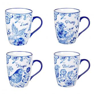 MUGS 18 Koppesett (4 pk) - Blue Birds Love Hope Pray Believe