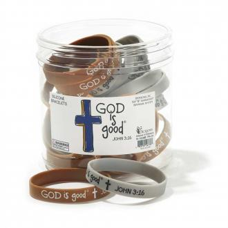 N-1008B Silikon Armbånd - God is Good (Grå og Brune assortert)