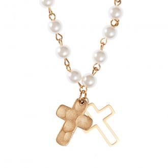 NKL 002 Halskjede - Double Cross & Glass Pearl Necklace
