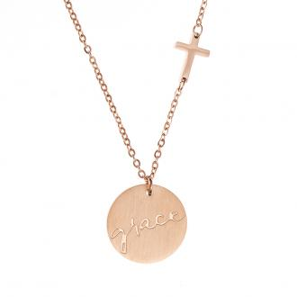 NKL 007 Halskjede - Grace Cross Disc Necklace