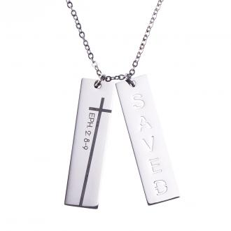 NKL 012 Halskjede - Saved Double Bar Necklace Rhodium Plating