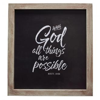 PLA 038 Veggdekor i glassramme - With God All Things Are Possible (26 x 30 cm)