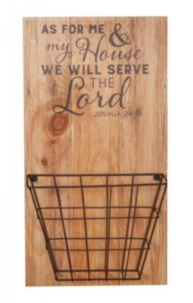 PNB 0005 Veggdkor med Kurv - As For Me & My House We Will Serve The Lord (51 x 27 cm)