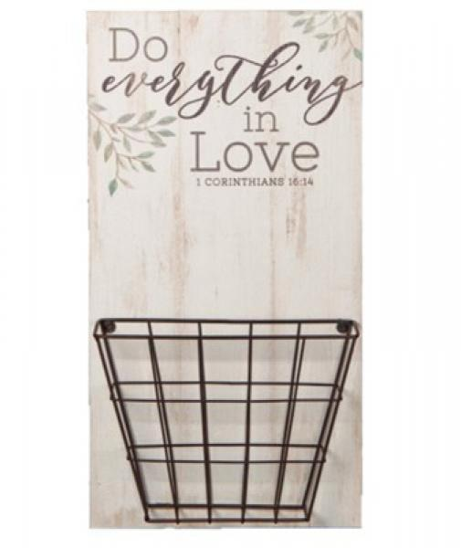 PNB 0006 Veggdekor med Kurv - Do Everything in Love (51 x 27 cm)