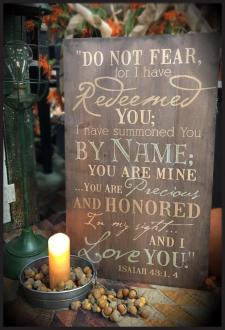 PNL 0318 Veggdekor - Do Not Fear For I Have Redeemed You (35x60 cm)