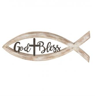 TTFISHR-1 Borddekor Fisk - God Bless - Cross (37 x 13 x 3 cm)