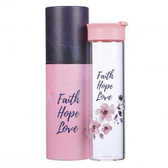 WBT 143 Drikkeflaske i Glass - Faith Hope Love (600 ml)