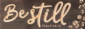 WPBC 0004 Carved Hanging Sign - Be Still (40 x 14 cm)