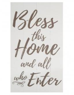 PNL 0650 Veggdekor - Bless This Home And All Who Enters (35 x 61 cm)